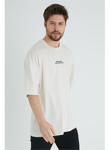 XHAN Taş Rengi Robot Kafa Baskılı Oversize T-Shirt 1Kxe1-44639-56 Taş